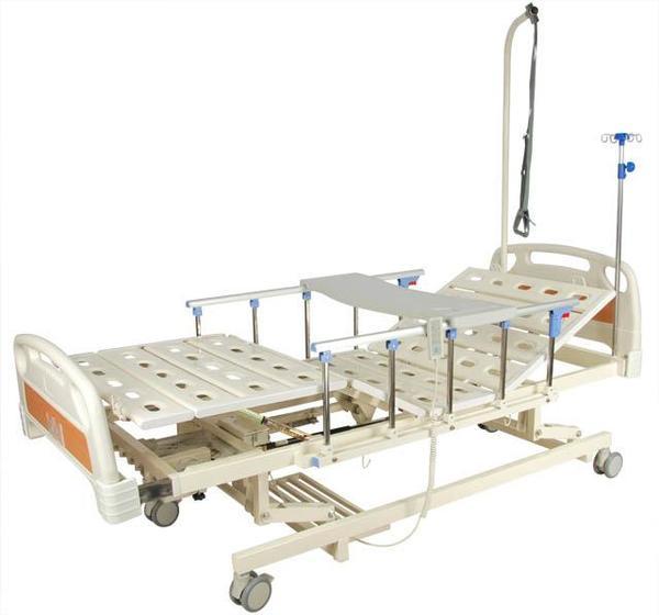 Кровать с электроприводом 6-3018Н-00 (6-66АH),3 функции с ростоматом,с выдвижным ложем,ПЛАСТИК (без матраса)+стол