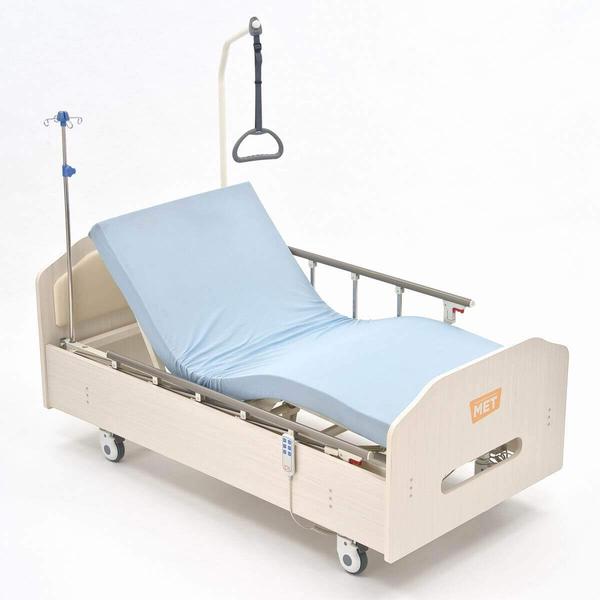 Кровать MET ARCTIC медицинская с низким основанием ЛДСП, электрический привод, (ложе 193*90см), (цвет выбеленный дуб)